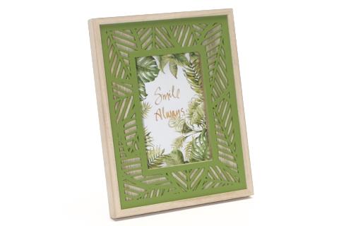 fotokader-hout-bladmotief-groen